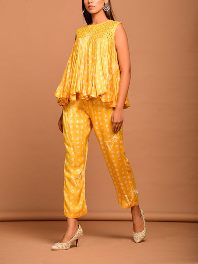Yellow Bandhani Kedia Top With Pant