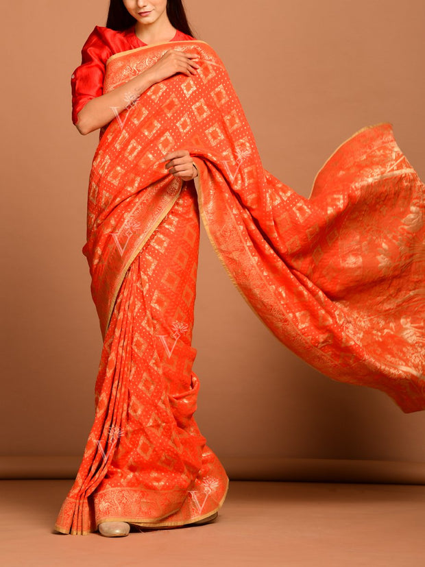Orange Modal Silk Saree