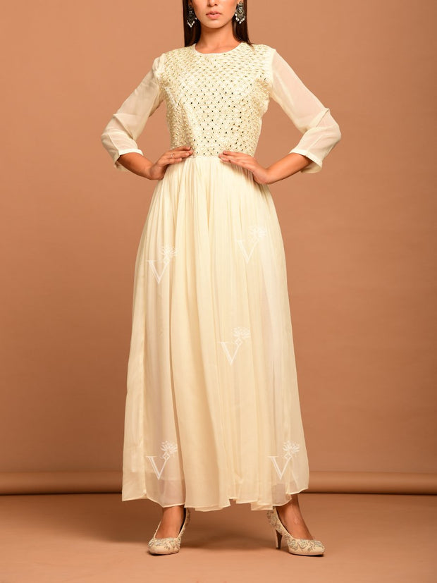Anarkali, Anarkalis, Gown, Gowns, Georgette, Light weight, Party wear, Long kurti, Floor length, Mirrorwork, Embroidered