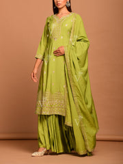 Parrot Green Embroidered Sharara Kurti