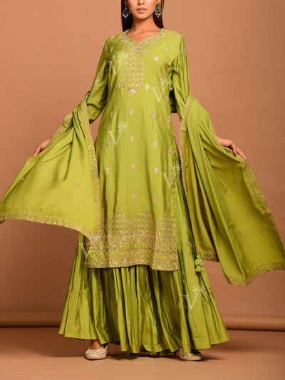 Light Green Embroidered Sharara Kurti