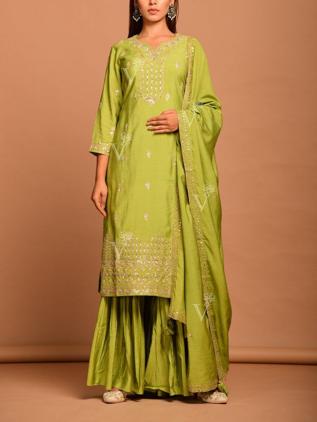 Sharara, Suit, Sharara set, Embroidered, Heavy, Party wear, Designer wear, Silk, Cotton, Kurti, Long kurti