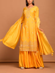 Yellow Embroidered Sharara Kurti