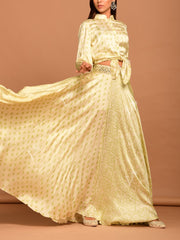 Off White Mirrorwork Bandhani Skirt Set