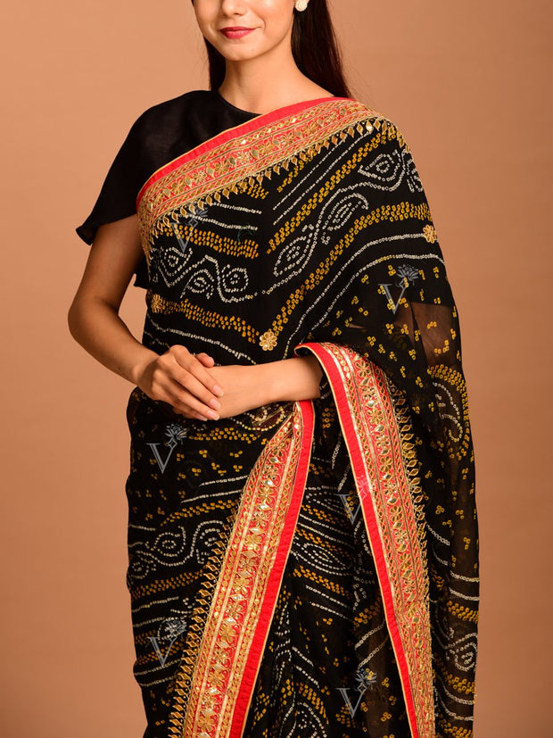 Black Gota Patti Bandhani Saree