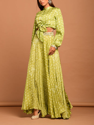 Green Mirrorwork Bandhani Skirt Set