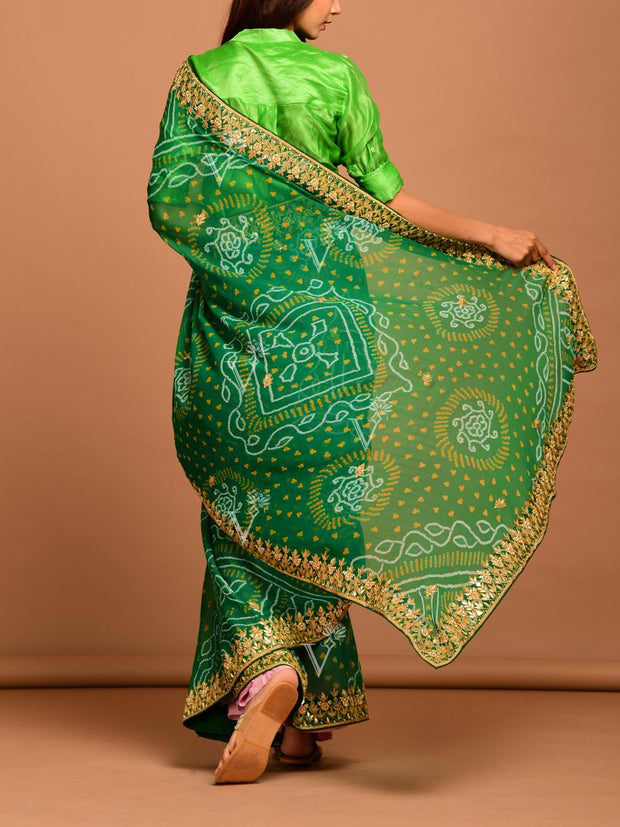 Green Ombre Georgette Bandhani  Saree