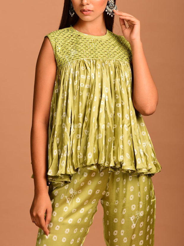 Green Bandhani Kedia Top With Pant