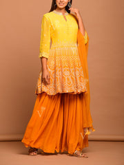 Yellow Ombre Georgette Sharara Set