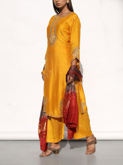 Mustard Embroidered Silk Suit Set