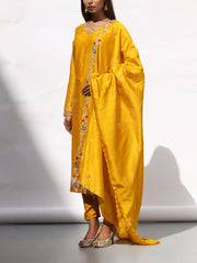 Mustard Yellow Embroidered Suit Set