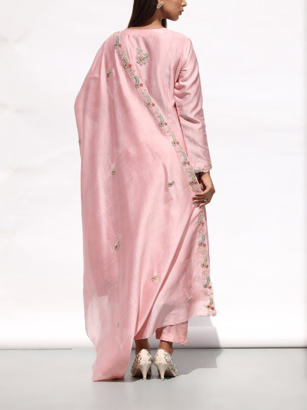 Blush Pink Embroidered Chanderi Suit Set