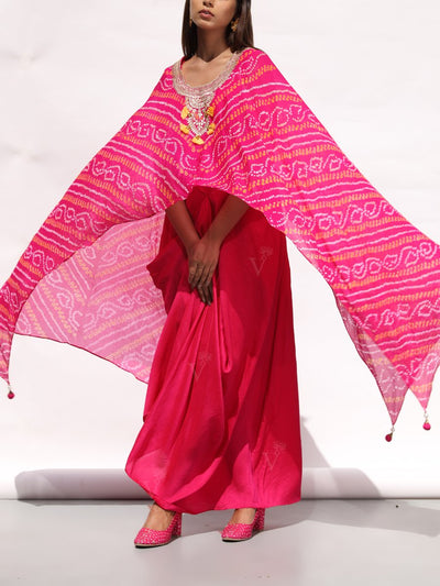 Fuschia Pink Drape Gown With Bandhani Cape