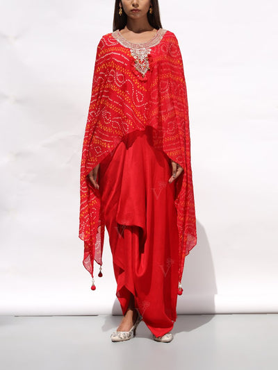 Red Drape Gown With Bandhani Cape