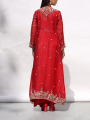 Scarlet Red Drape Gown With Embroidered Jacket