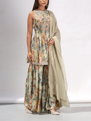 Forest Green Embellished Sharara Set