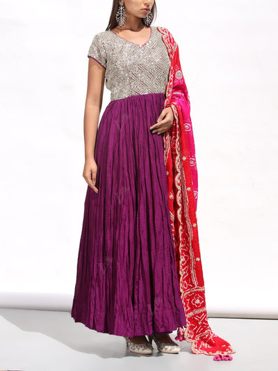 Purple Crushed Silk Gown With Bandhani Dupatta