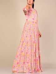 Powder Pink Floral Chiffon Dress