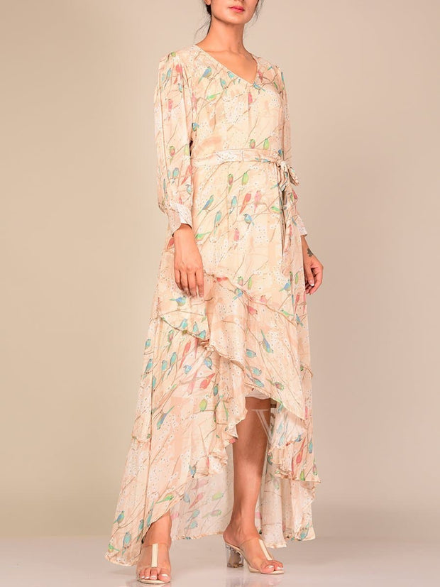 Champagne Chiffon Floral  Dress