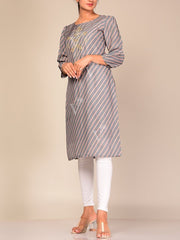 Grey Leheriya Cotton Blend Straight Kurti