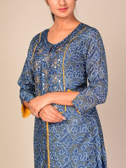 Blue Bandhani Gota Patti Cotton Blend Kurti