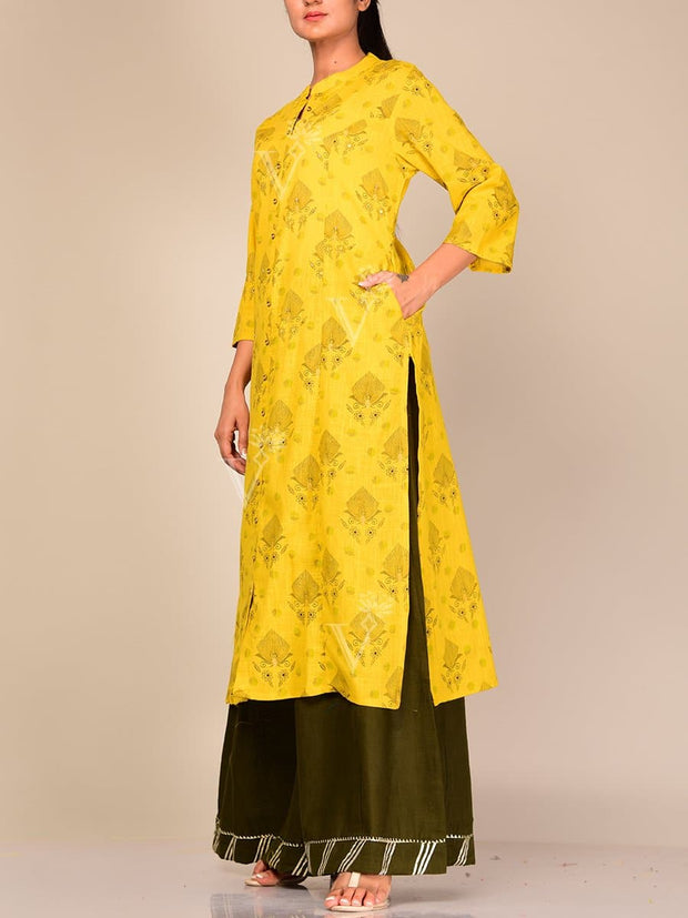 Yellow Straight Kurta With Palazzo Pants