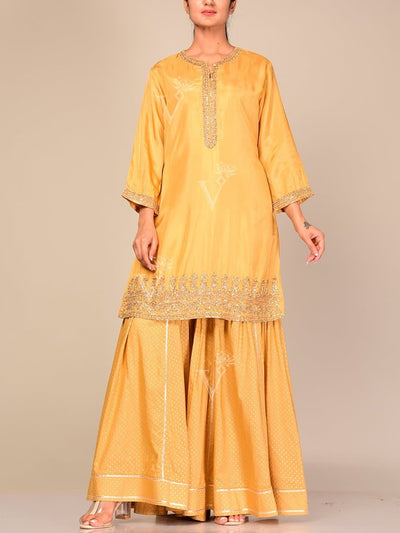 Sharara, Sharara Set, Sharara Suit, Kurta, Indo Western, Jacket, Top, Silk, Brocade, Jacquard, Printed, Gota Patti