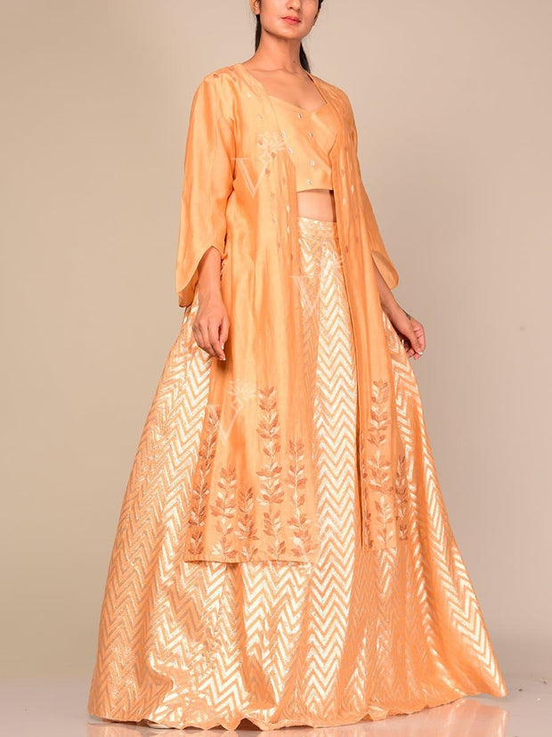 Kesar Lehega With Embroidered Cape Jacket
