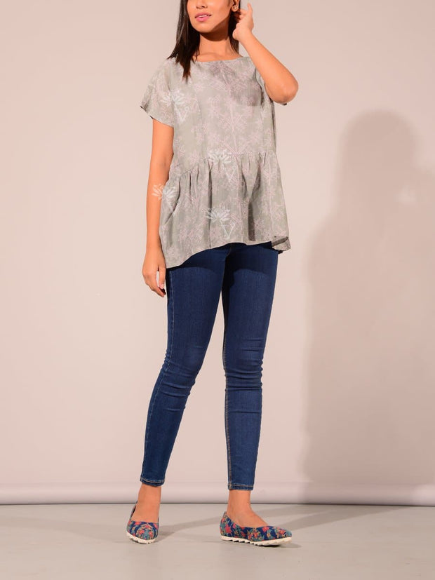Grey Silk Blend Koashee Top