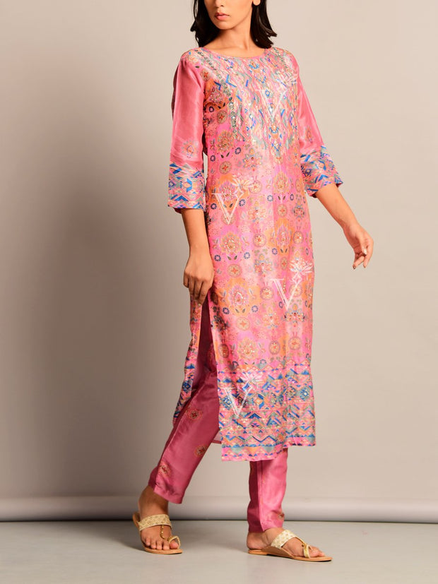 Pink Printed Silk Kurta Set