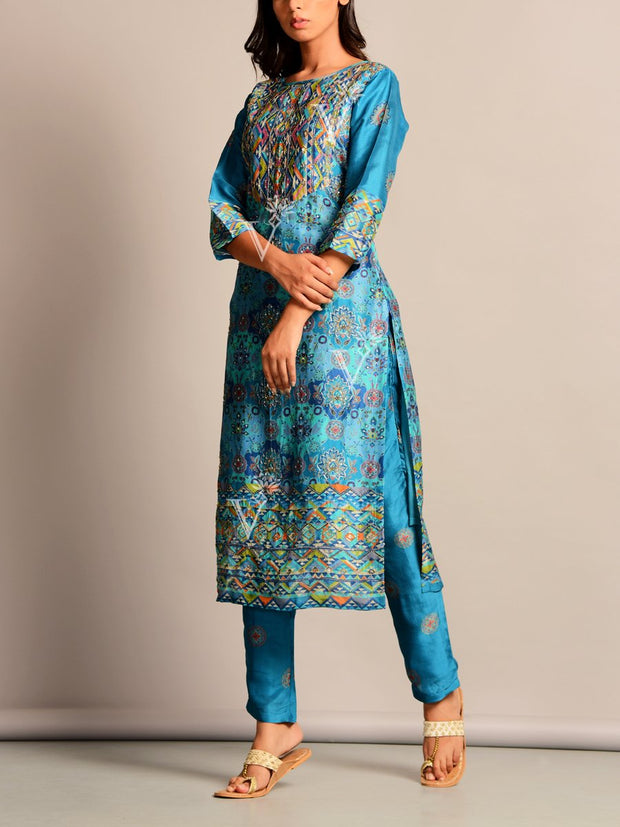 Blue Printed Silk Kurta Set