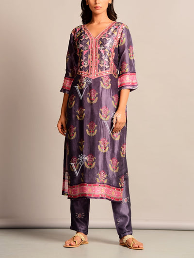 Purple Printed Silk Kurta Set