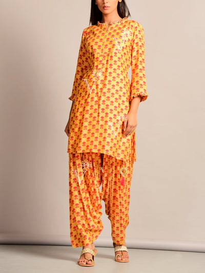 Yellow Printed Cotton Silk Patiala Set