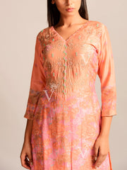 Peach Printed Silk Suit Set