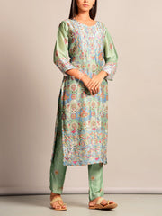 Sage Green Printed Kurta Set