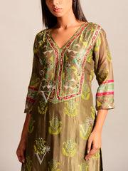 Olive Green Printed Kurta Set