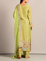 Green Printed Suit Set
