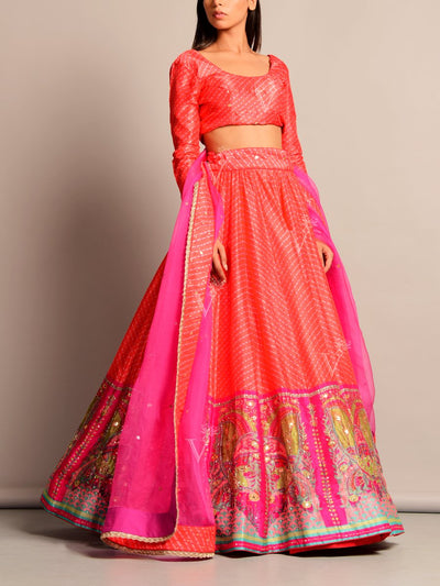 Orange Leheriya Printed Lehenga Set (Special Price)