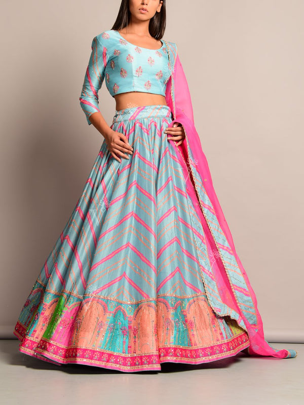 Cyan Blue Leheriya Printed Lehenga Set