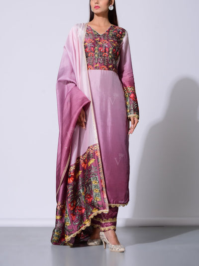 Purple Vasansi Silk Kurta Set