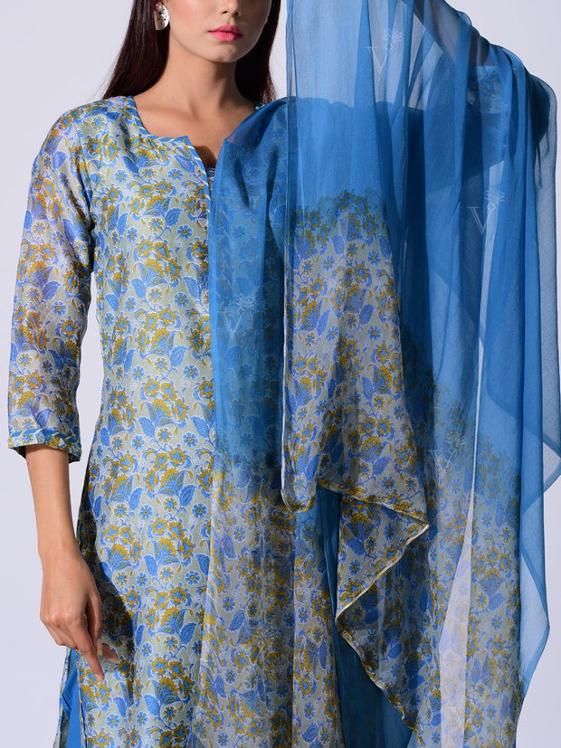 Blue Botanical Printed Chanderi Suit Set