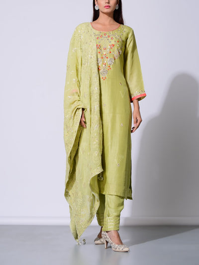 Light Green Vasansi Silk Gota Patti Suit Set