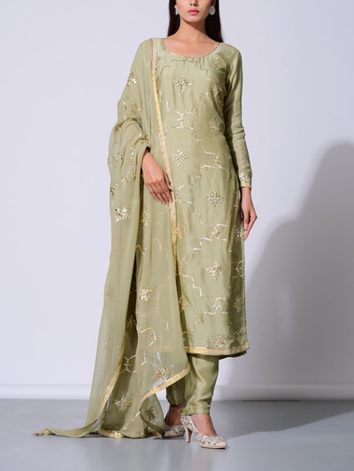 Sage Green Vasansi Silk Gota Patti Suit Set