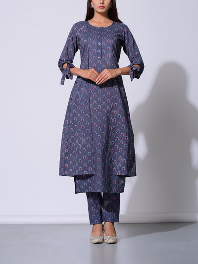 Charcoal Grey Cotton Kurta Set