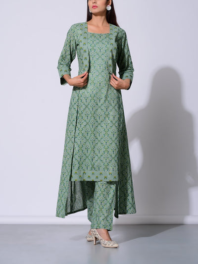 Green Asymmetrical Printed Cotton Kurta Set