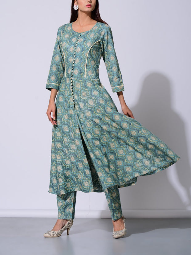 Jade Green Button Down Cotton Kurta Set