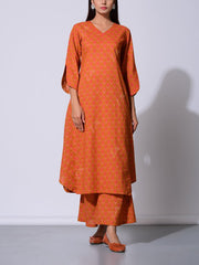 Rust Booti Cotton Printed Kurta Set