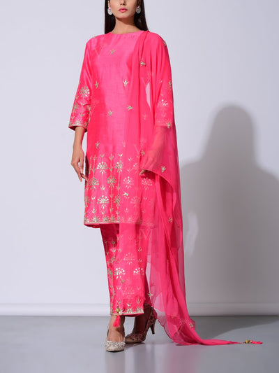 Fuchsia Pink Modal Silk Gota Patti Suit Set