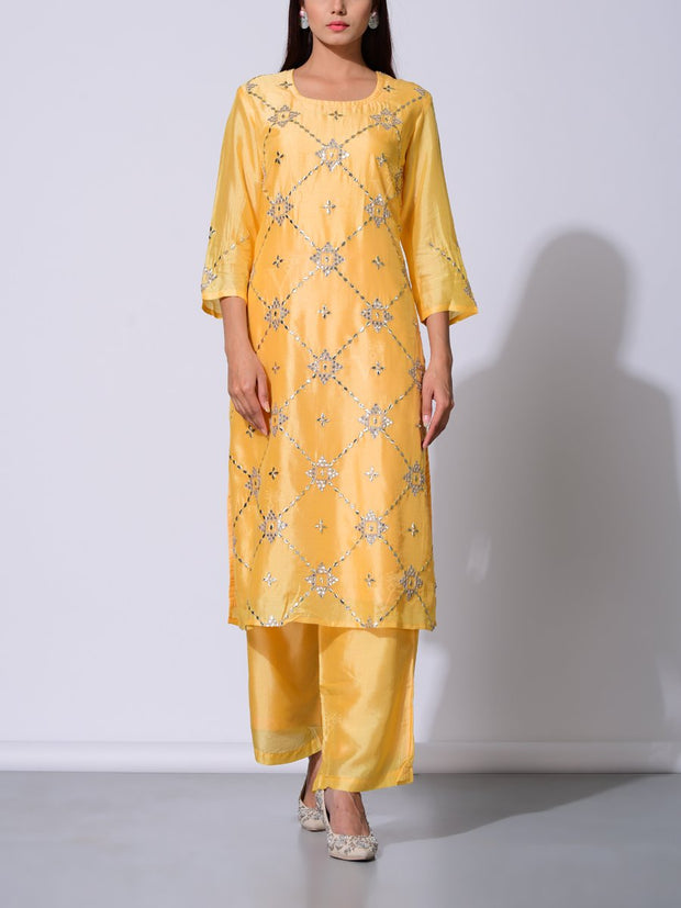 Yellow Vasansi Silk Gota Pattii Suit Set