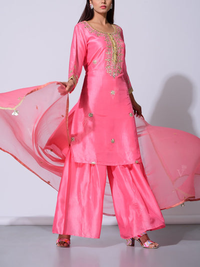 Baby Pink Gota Patti Silk Suit Set